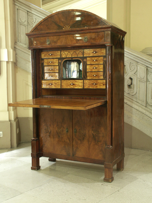 An Exquisite, Rare Biedermeier Secretaire With So Called U0027Metternichu0027 Form.  Columns At The Angles, Cornice Drawer, Writing Section With Fall Front And  ...